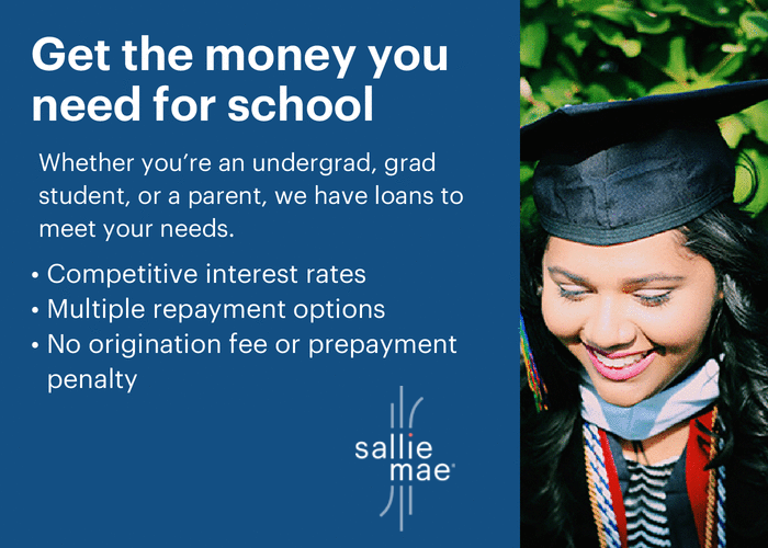 female graduate with type about Sallie Mae student loans